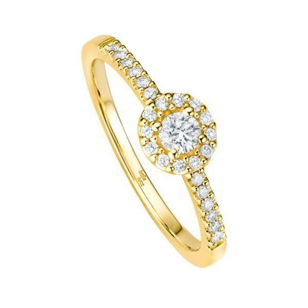 Verlobungsring in Gelbgold mit zarten Brillanten - ab 449,00€