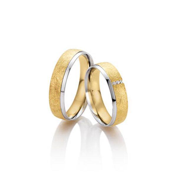 Trauring in eismattem Gelbgold und Weißgold - Paarpreis ab 1.445,00€