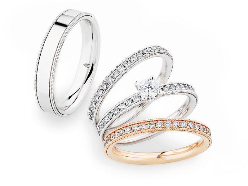 Triset für die Dame und besonderes Design für den Herren - Weiß/Roségold Herrenring ab 1.000,00€, Damenring ab 1.700,00€