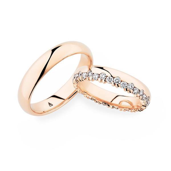 Versetzt angeordnete Diamanten und Roségold - Paarpreis ab 4200,00€