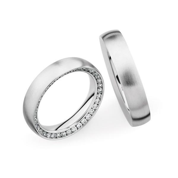 Ehering mit versteckten Diamanten - Weißgold Paarpreis ab 4.500,00€