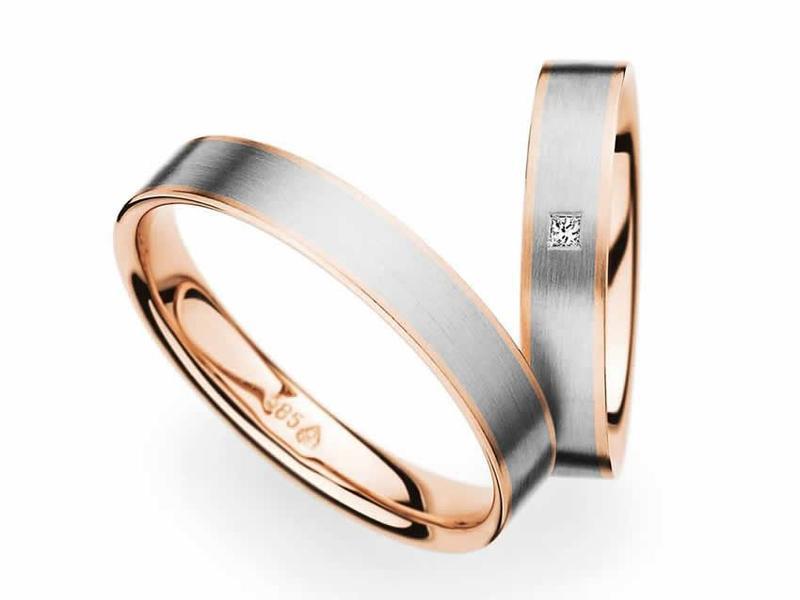Rotgold, Weißgold un ein Diamant im Princess-Cut - Paarpreis ab 1.700,00€