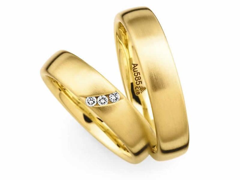 Gelbgold Ringpaar mit Diamanten - Paarpreis ab 2.000,00€