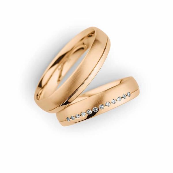 Ehering mit 12 Diamanten in Roségold - Paarpreis ab 1.700,00€